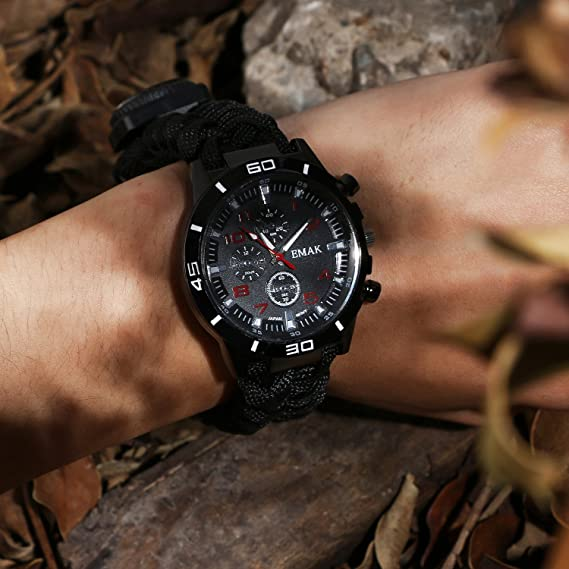 Buy Survival Bracelet Watch Paracord Emergency Watch Men and Women Winding Whistle Lighter Scraper Compass Thermometer (6 in 1) Multifunction Outdoor Gear in Pakistan